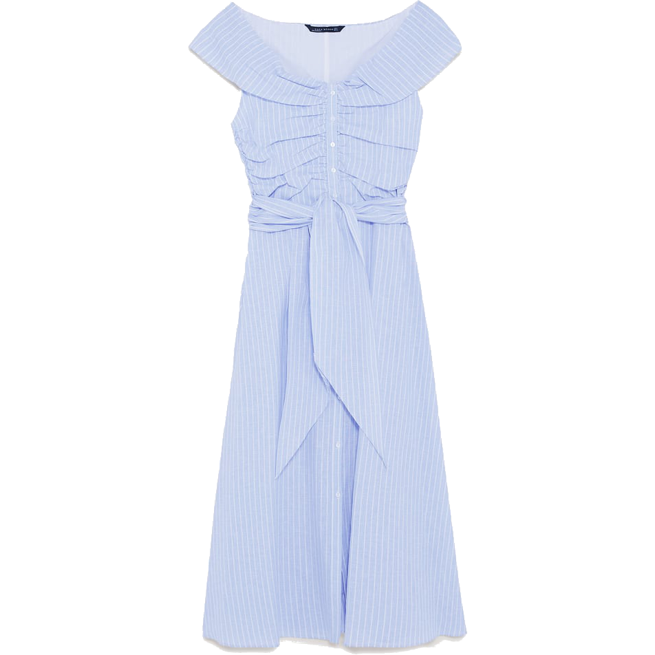 Zara Blue Striped Off-The-Shoulder Dress as seen on Kate Middleton Duchess of Cambridge