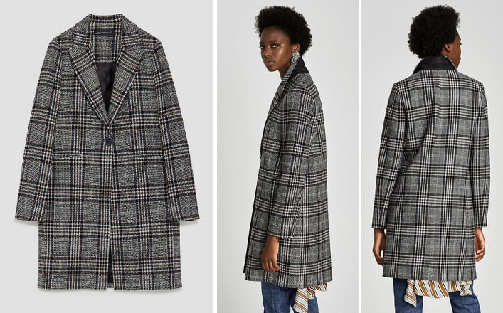 Zara blue checked coat
