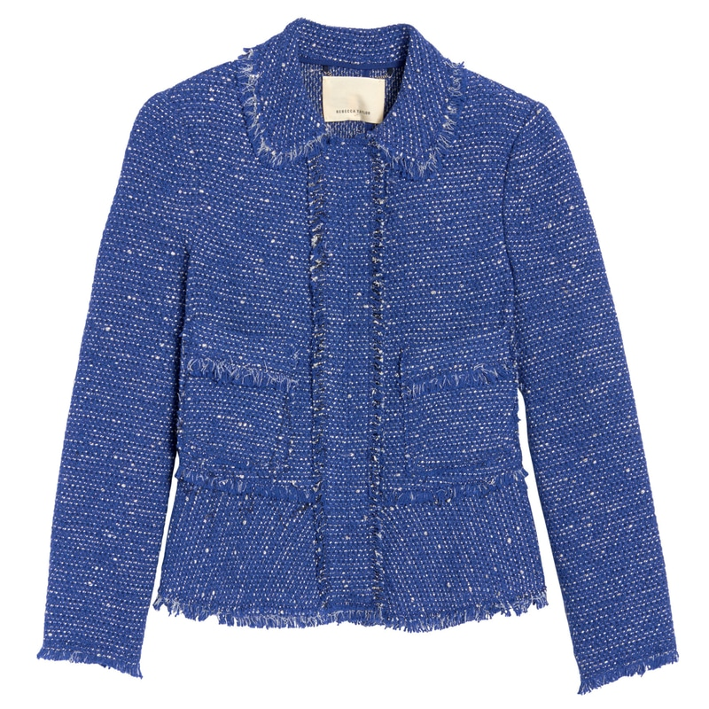 Rebecca Taylor blue sparkle tweed ruffle jacket