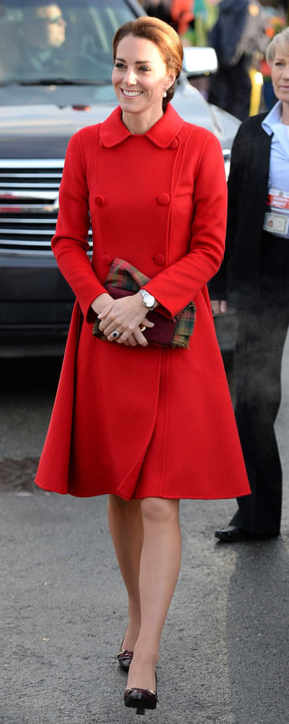 Carolina Herrera Red Double Breasted Coat as seen on Kate Middleton, The Duchess of Cambridge.