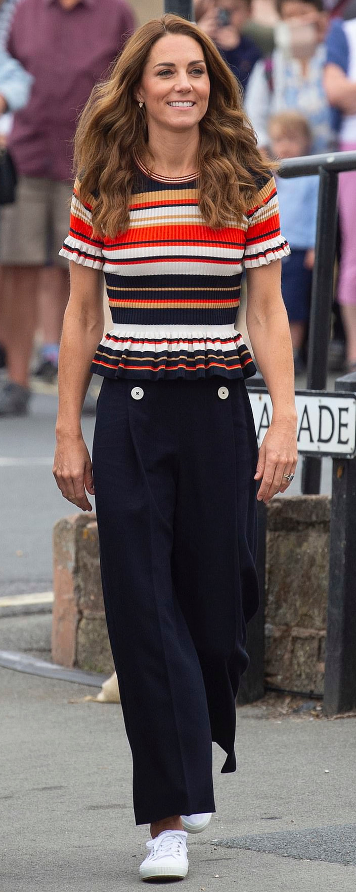 Sandro Striped Frilled Knit Top as seen on Kate Middleton, The Duchess of Cambridge.