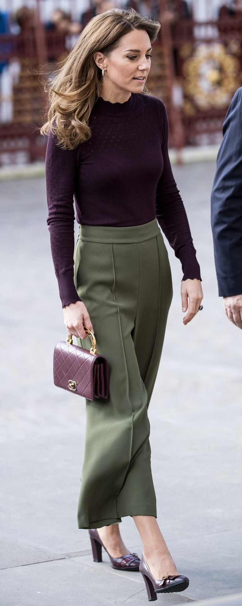 Jigsaw Khaki Relaxed Gathered Waist Culotte as seen on Kate Middleton, The Duchess of Cambridge