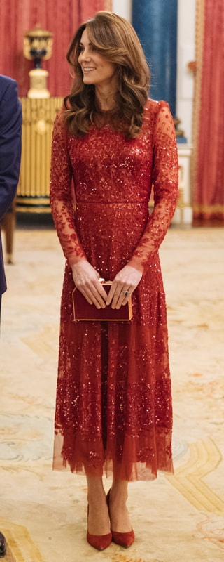 Needle & Thread Aurora Red Sequin Gown as seen on Kate Middleton, The Duchess of Cambridge.