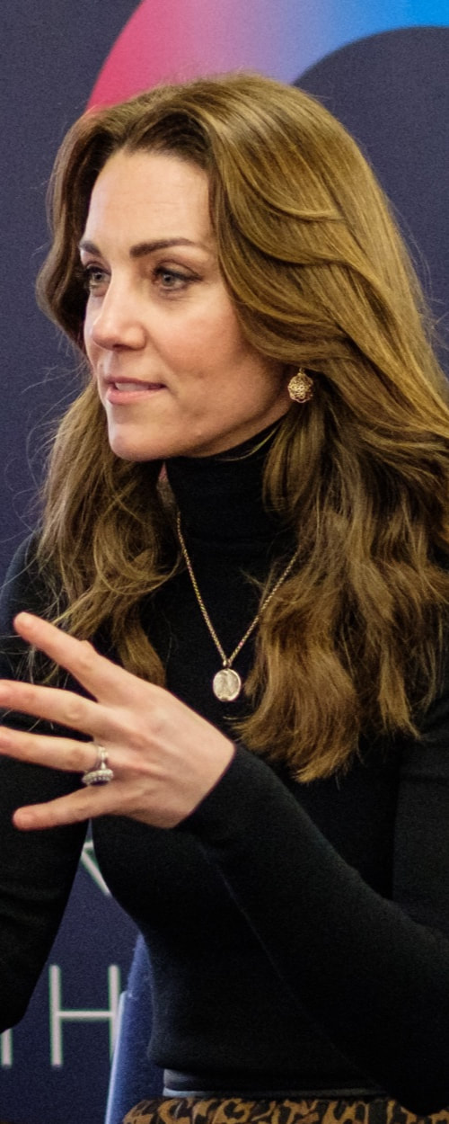 Daniella Draper Personalised Gold Midnight Moon Necklace as seen on Kate Middleton, The Duchess of Cambridge.