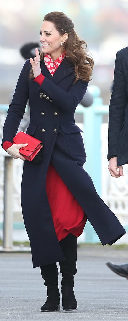 Hobbs London Bianca Navy Maxi Coat as seen on Kate Middleton, The Duchess of Cambridge