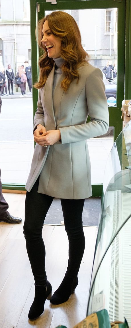 Reiss Delany Grey Coat as seen on Kate Middleton, The Duchess of Cambridge at Social Bite Café in Aberdeen, Scotland