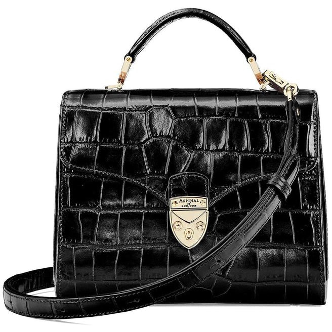 Aspinal of London Black Croc Midi Mayfair Bag