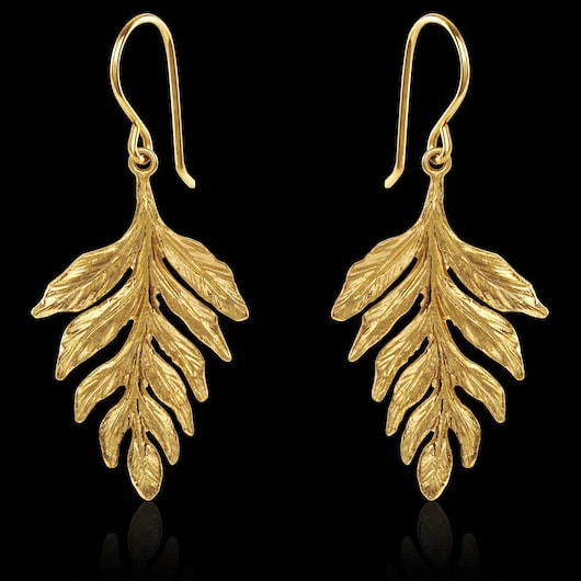 Catherine Zoraida Gold Fern Drop Earrings
