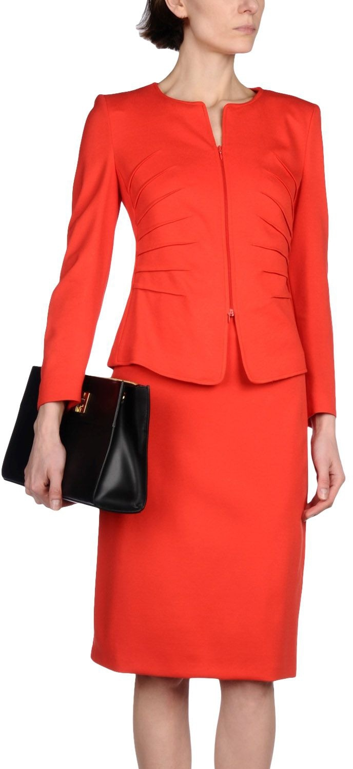 Armani Collezioni red skirt suit