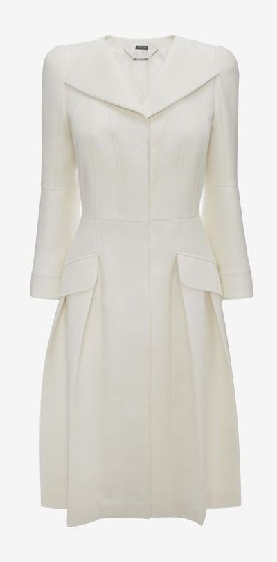 Alexander McQueen ivory wool-silk pleated open neck coat