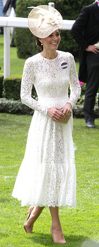 Dolce & Gabbana White Lace Dress as seen on Kate Middleton, Duchess of Cambridge at Royal Ascot 2016