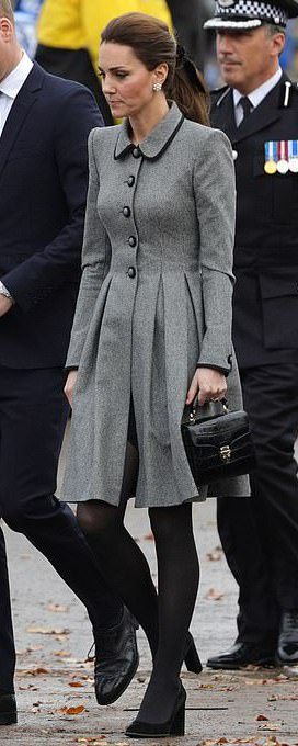 Aspinal of London Black Croc Midi Mayfair Bag as seen on Kate Middleton, The Duchess of Cambridge