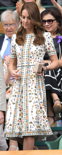 Alexander McQueen Ivory Obsession-Print Short-Sleeve Silk Dress as seen on Kate Middleton, The Duchess of Cambridge.