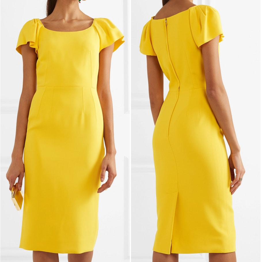 Dolce & Gabbana Yellow Flutter Sleeve Crepe Dress