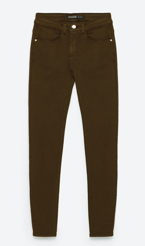 Zara Skinny Mid-Rose Trousers in Khaki