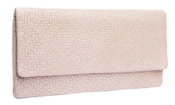 Etui cream woven lattice clutch bag