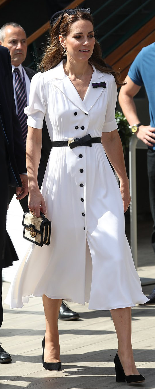 Alexander McQueen Black Bow-Front Leather Waist Belt as seen on Kate Middleton, the Duchess of Cambridge.