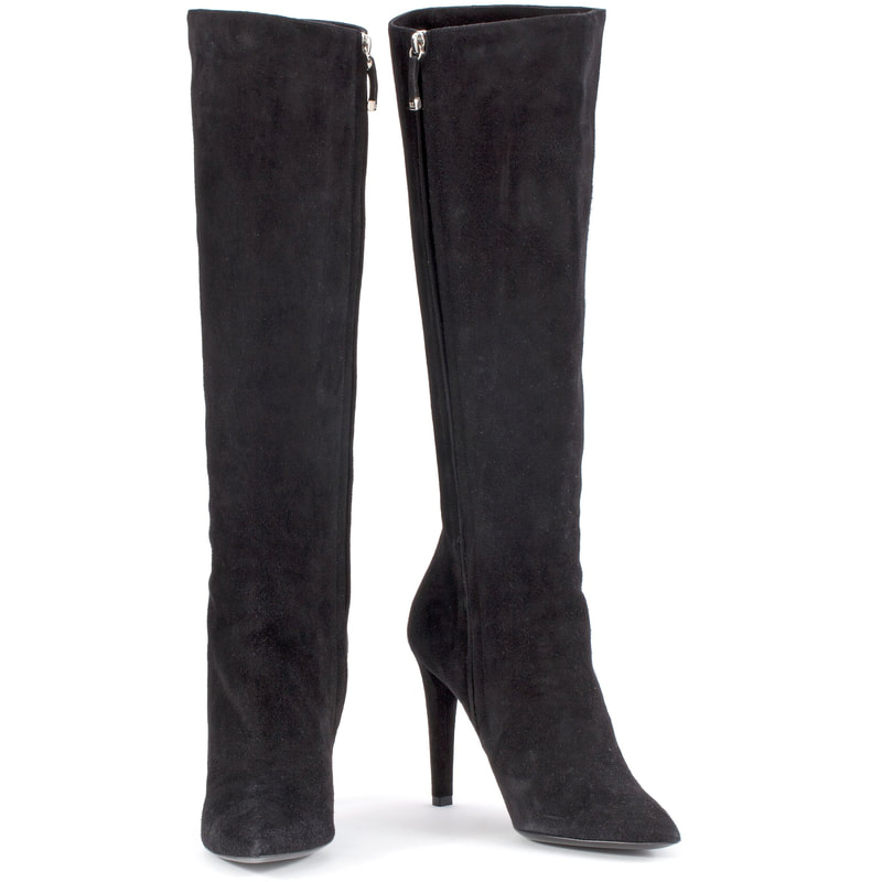 Ralph Lauren Collection Black Suede High Heel Boot