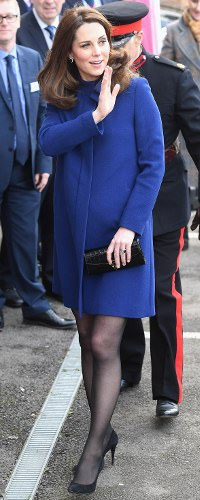 Aspinal x Beulah Blue Heart Black Croc Clutch as seen on Kate Middleton, The Duchess of Cambridge at Action on Addiction 2018