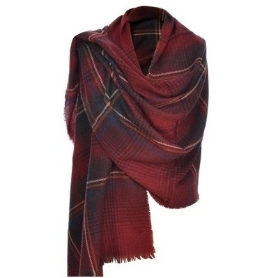 Really Wild claret red cashmere mix wrap scarf