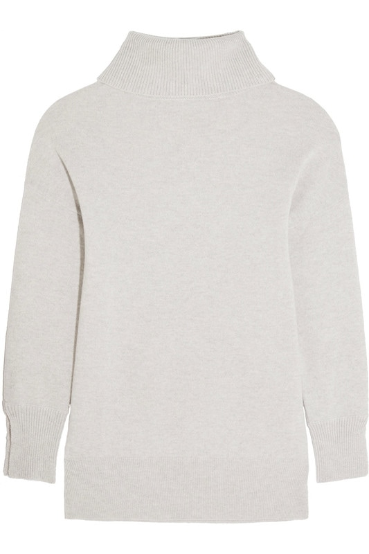 Iris and Ink Grace cashmere turtleneck sweater in light grey