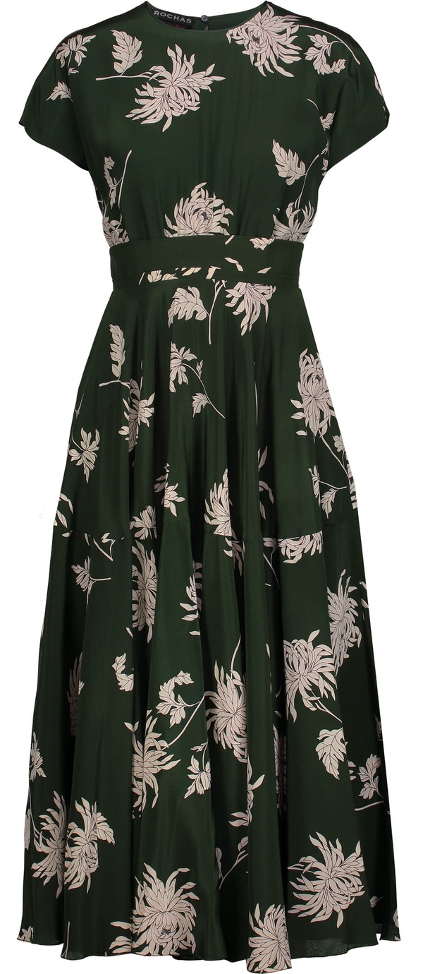 Rochas green dahlia-print silk-charmeuse midi dress