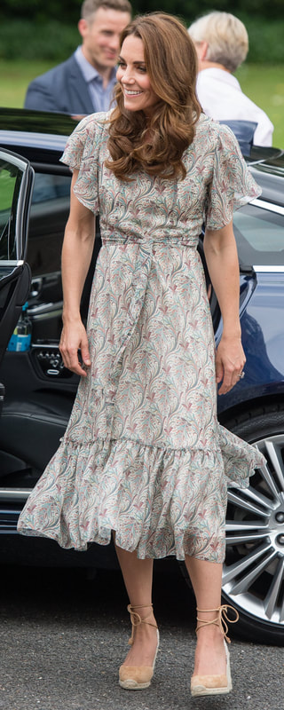 Ridley London 'Virginia Midi' Elegance Silk Chiffon Dress as seen on Kate Middleton, The Duchess of Cambridge.