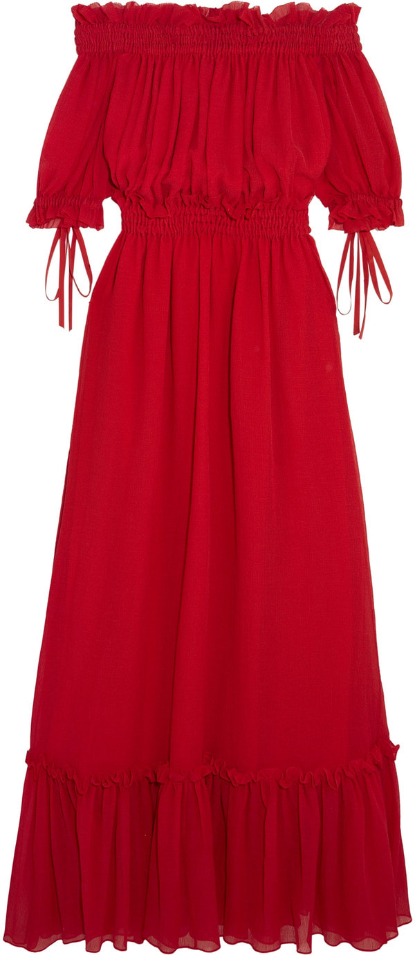 Alexander McQueen red off-the-shoulder shirred cotton and silk-blend crinkled-chiffon maxi dress