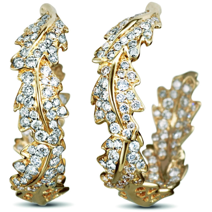 Asprey London Oak Leaf Small Hoop Earrings