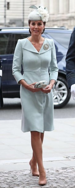 Alexander McQueen Powder Blue Open Neck Coat as seen on Kate Middleton, The Duchess of Cambridge.