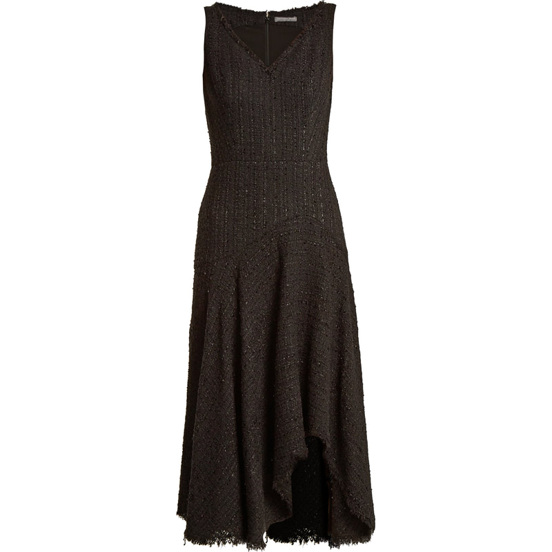 Alexander McQueen Black Tweed Asymmetric Frayed Dress