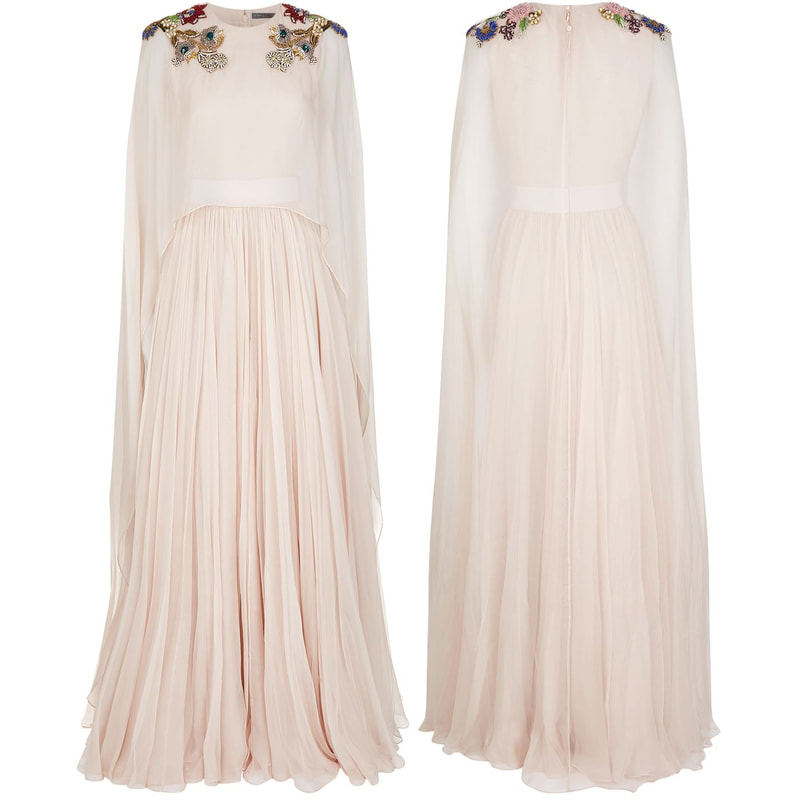 Alexander McQueen Blush Pink Cape Gown as seen on Duchess Kate Middleton