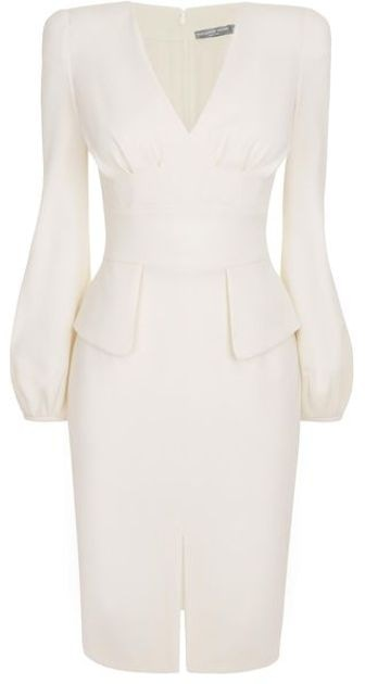 Alexander McQueen Bell Sleeve Dress Wool Crepe Dress