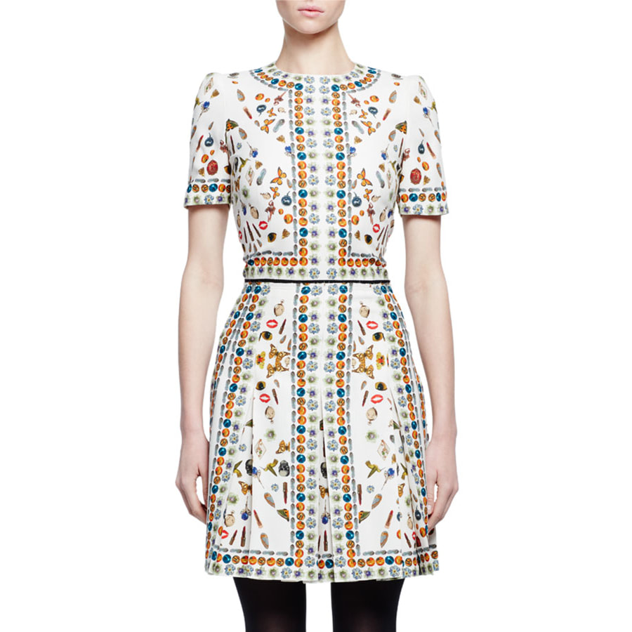 Alexander McQueen Ivory Obsession-Print Short-Sleeve Silk Dress