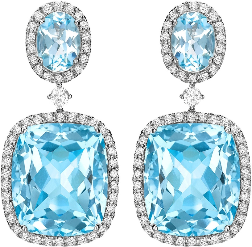 KIKI Blue Topaz and Diamond Drop Earrings in white gold