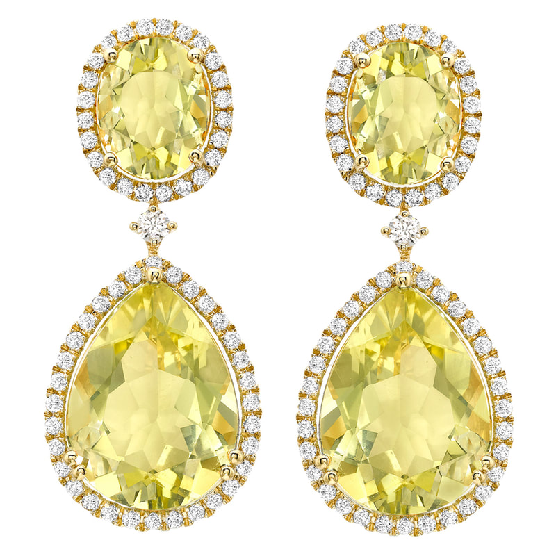 KIKI McDonough Lemon Quartz Pear and Oval Drop Earrings