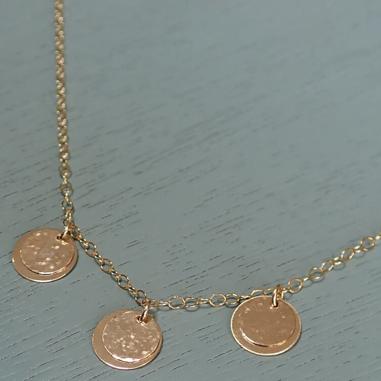 All The Falling Stars Gold Three Layered Disc Necklace