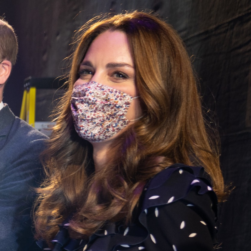 Duchess of Cambridge wears Amaia Reusable Cotton Face Mask in Wiltshire Bud
