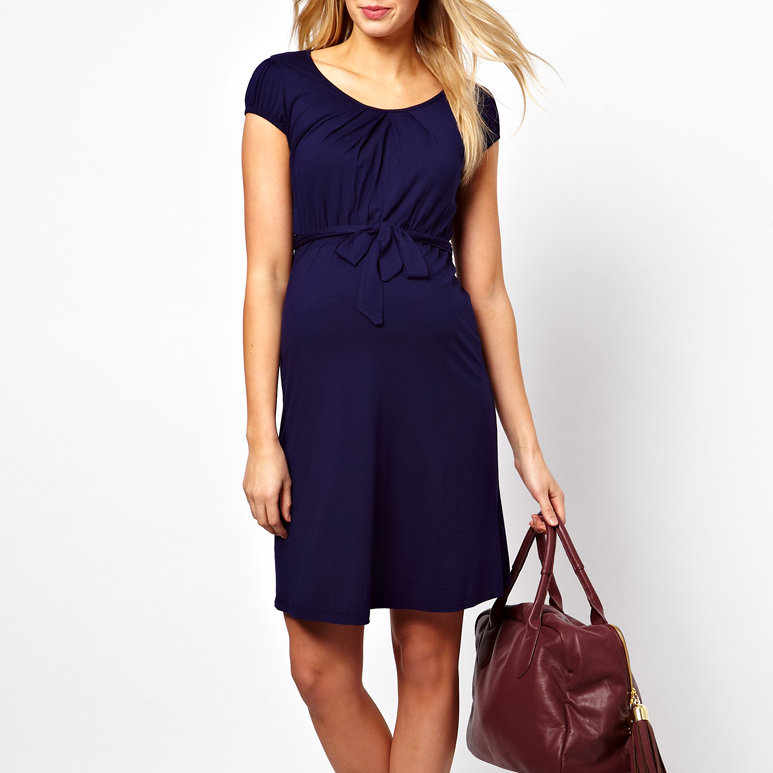 ASOS Maternity Navy Belted Dress
