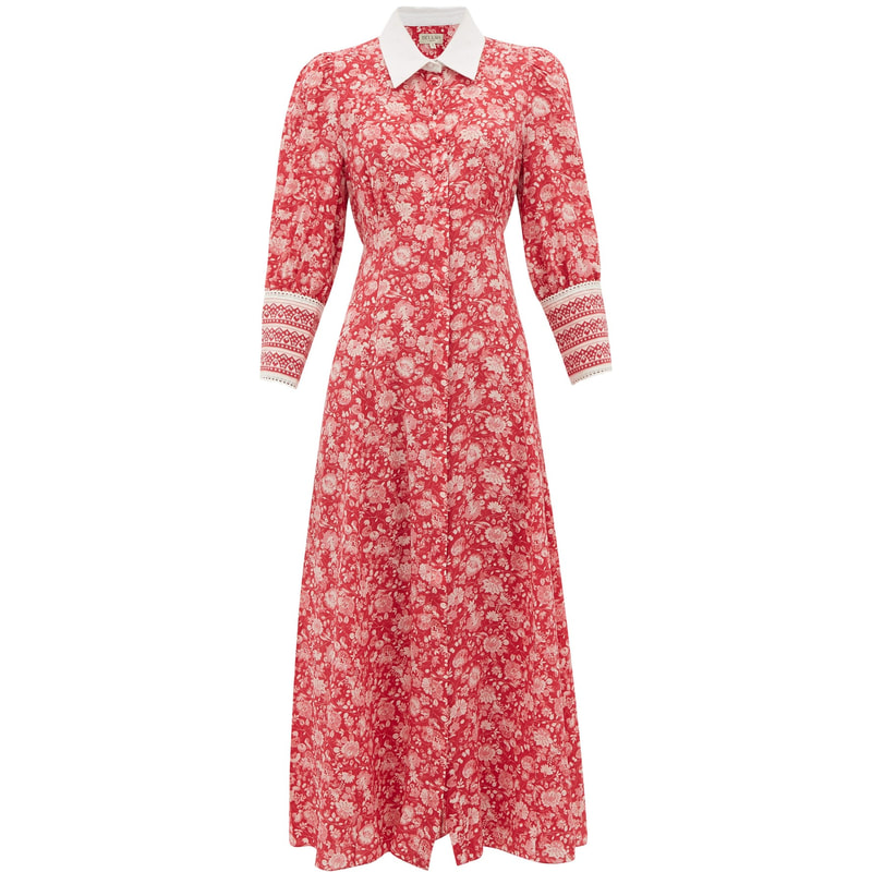 Beulah London 'Calla' Red Rose Shirt Dress
