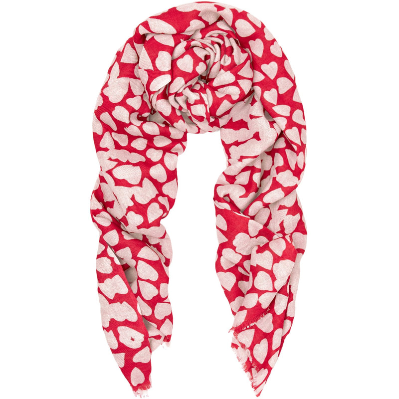 Beulah London 'Shibani' Red & Ecru Heart Print Scarf