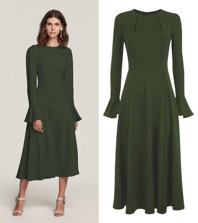 Beulah London Yahvi tailored midi dress in olive green
