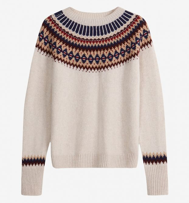 Brora x TROY Supersoft Lambswool Fair Isle Jumper in Almond