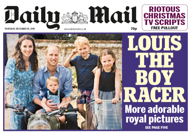 Cambridge Christmas Card 2019 on the cover of Daily Mail