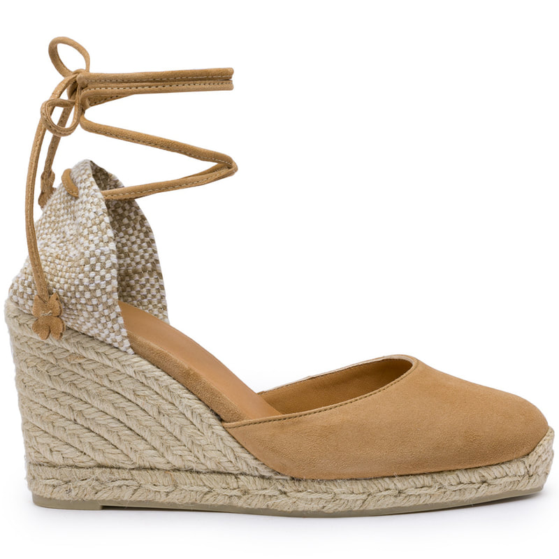 Casteñer 'Carina' 80 Camel Brown Suede Wedge