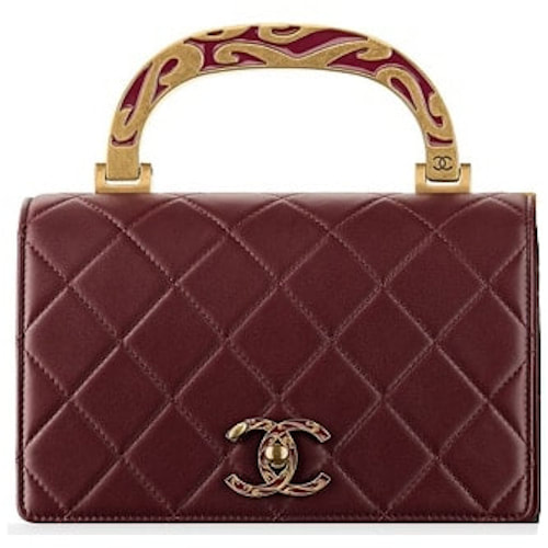 Chanel Burgundy Calfskin Boy Flap Bag with Enamel Handle