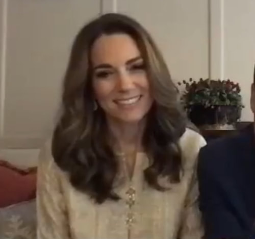 Kate wore a cream shalwar kameez