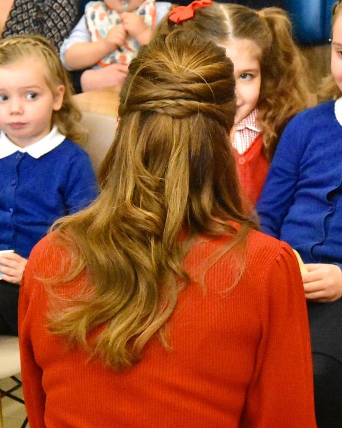 Duchess Kate Middleton half up-do hairstyle for visit to South Wales 2020