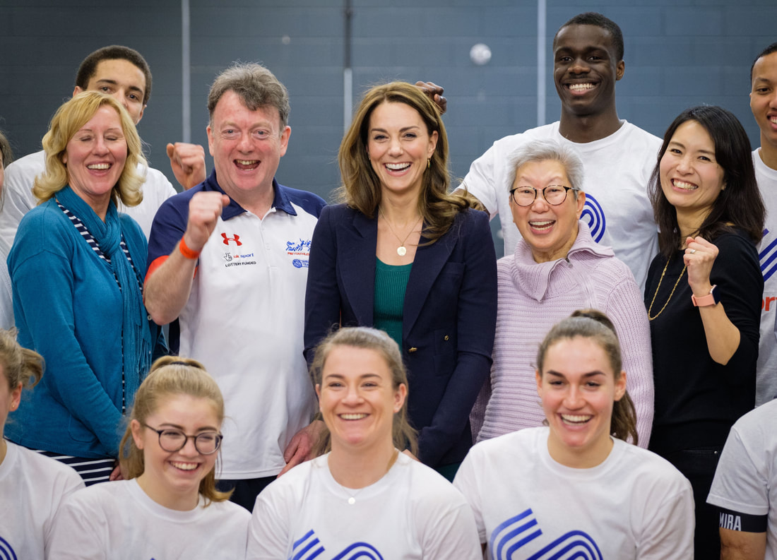 Duchess of Cambridge meets parents of athletes at SportsAid event at Olympic Park