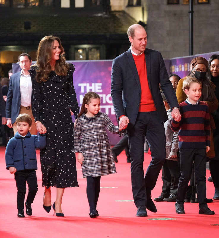 The Duke and Duchess of Cambridge attended a special performance of The National Lottery's Pantoland at The Palladium, with their children Prince George, Princess Charlotte, and Prince Louis.